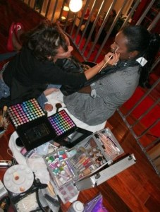 Me putting make up on a model DC Fashion Week