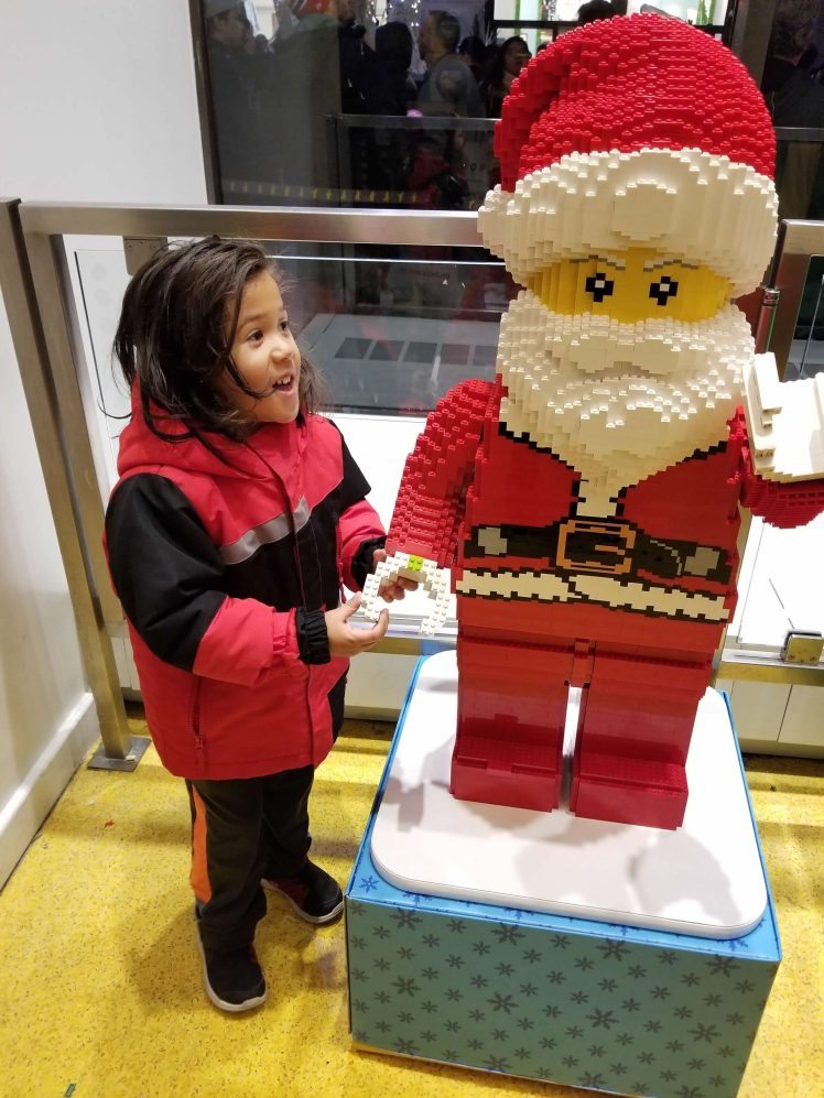 Xavier at the Lego store Christmas 2018