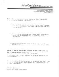 John Casablanca Promotional Model Letter