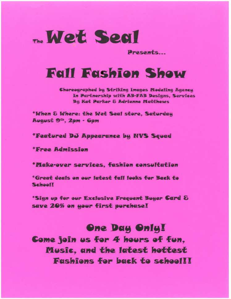 Wet Seal Fashion Show Flyer
