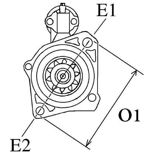 Startmotor Yanmar 3jh30a, 2T80, 3T84, 4JH2, 4JH3, 12v