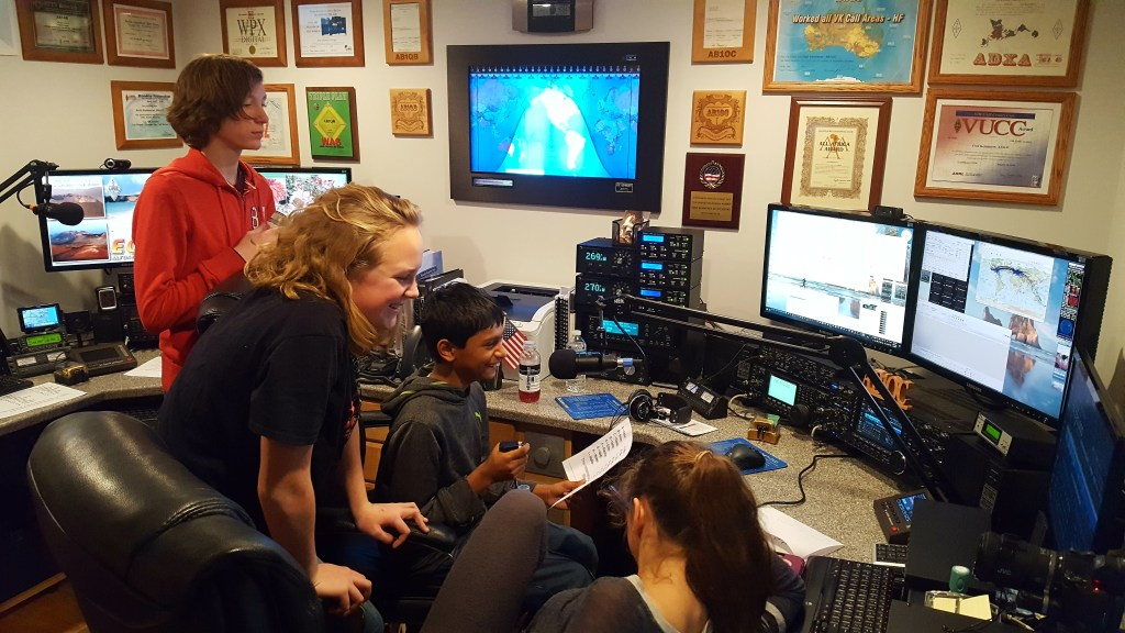 Young People Experience Amatuer Radio at AB1OC-AB1QB