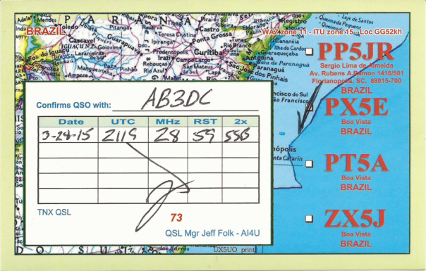 QSL card from Sérgio, PP5JR