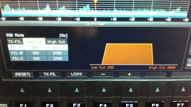 TS-990 Transmit Filter Display