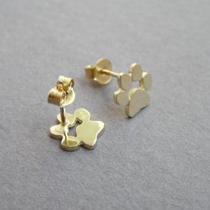 14k Gold Paw Print Earrings