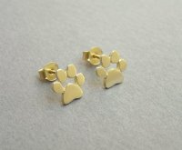 14k Gold Paw Print Earrings - Solid Gold Studs - Cats And ...