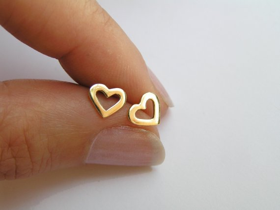 14k Gold Heart Earrings Solid Gold Studs Small Heart