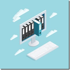 Documents Cloud Isometric Composition