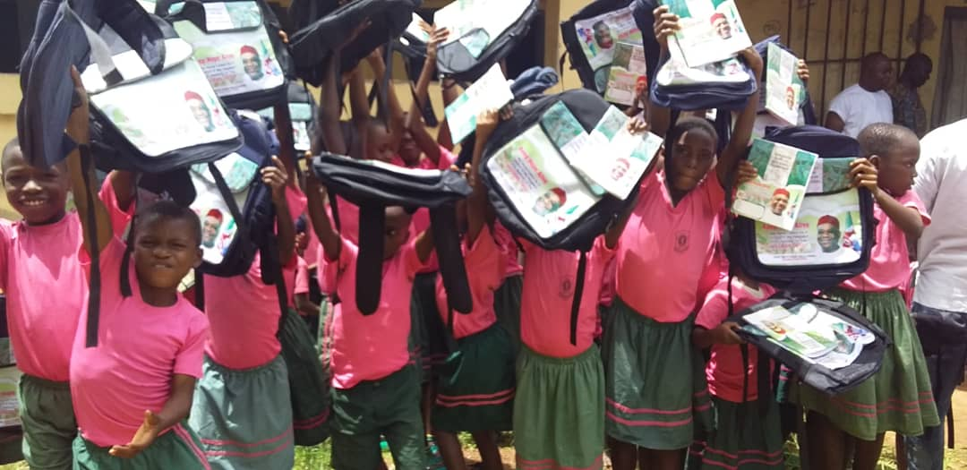 Students Shower Praises on Sen Kalu as they Receive Educational Materials