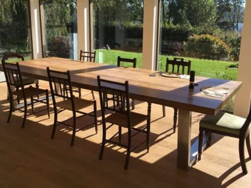 large kitchen table single handle pullout faucet oak dining abacus tables made in the uk project 392