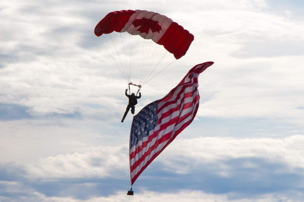 skydiver, usa flag, canadian