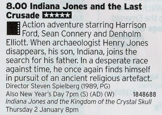 2000 BBC3 - The last in the Indiana Jones Trilogy (ahem) just happens to be one of the best thanks to the chemistry between the two leads