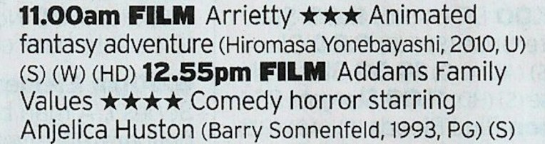 1100 Film4 - Nice double bill here from Film4, a decent Ghibli film and a worthy sequel to the original Addams Family
