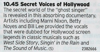 2245 BBC4 - Great little doc here about the singers who filled in for actors during the golden age of movie musicals