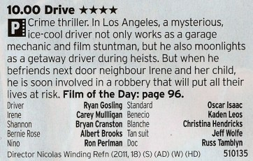 2200 BBC2 - Here's a great film that has an ever better soundtrack. But, whisper it, The Driver is a better film