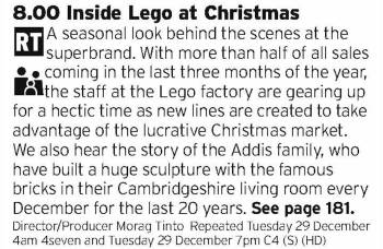 2030 - C4 - Now this looks interesting, everyone loves Lego so a bit of a behind the scenes documentary can't be anything less than enjoyable