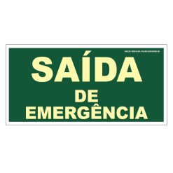 Placa de Sinalização Fotoluminescente de Rota de Fuga e Evacuação Tipo Saída de Emergência, código AFS12-B