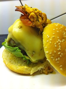 Guilty indulgence - melted cheese and bacon on my burger. Shhh, don't tell anyone!