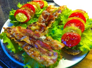 A simple BLT (bacon, lettuce, and tomato) made with Jani and Green Zebra tomatoes as well as lettuce from the garden. To add a bit of zest, I whipped up a garlic aioli to spread on the bread.