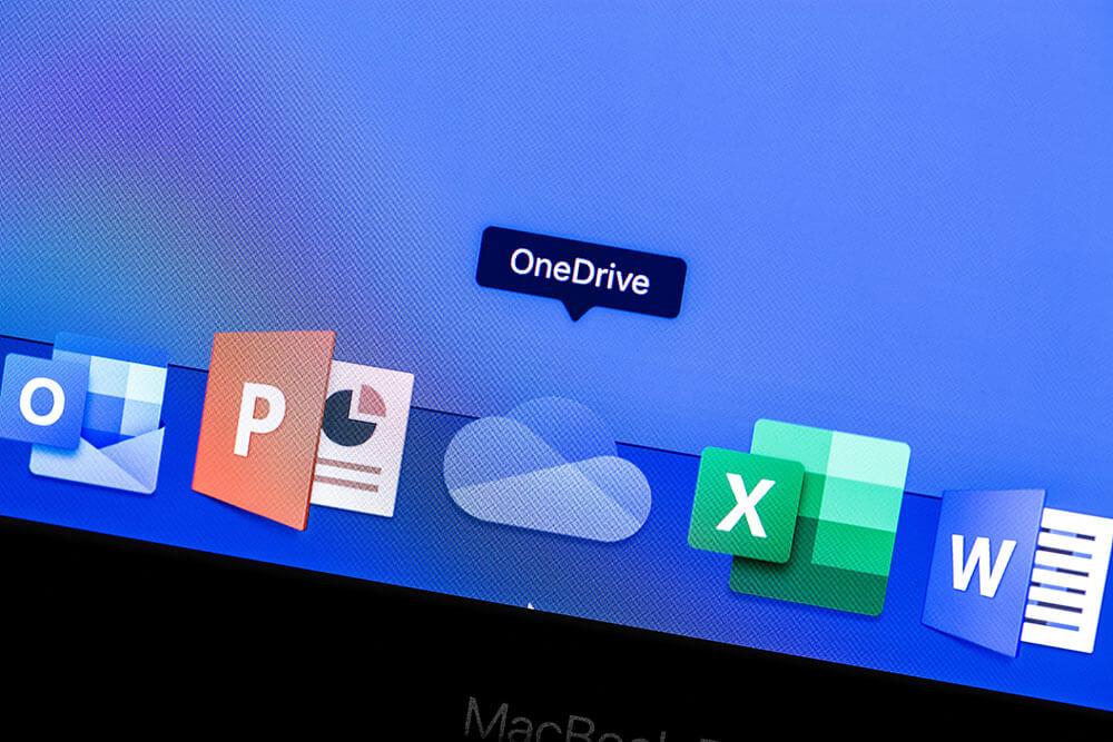 Microsoft OneDrive App auf dem Display MacBook schließen