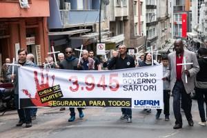 08/09/2016 - PORTO ALEGRE, RS -Ato Público na Esquina Democrática lembrando os 3.945 mortos pela violência no RS desde o início do governo Sartori. Foto: Maia Rubim/Sul21