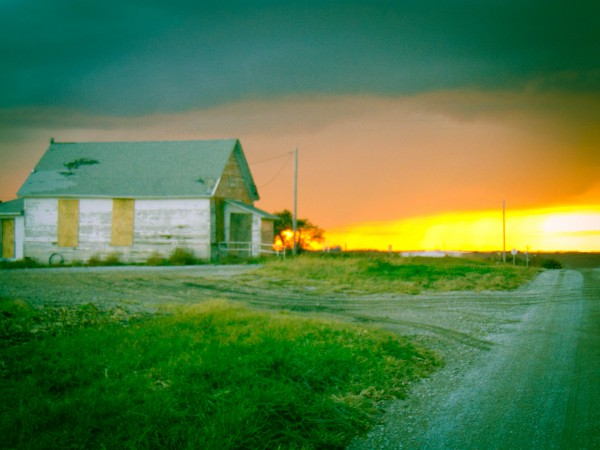 Sunset at The Lunchbucket Abandoned Cafe, Nebraska-Eklund