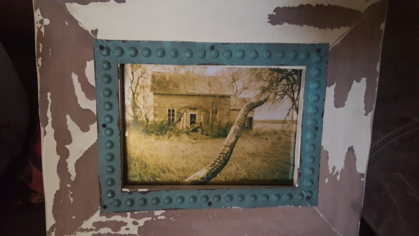 5x7 Metallic Print of an Abandoned House in Distressed Frame $18