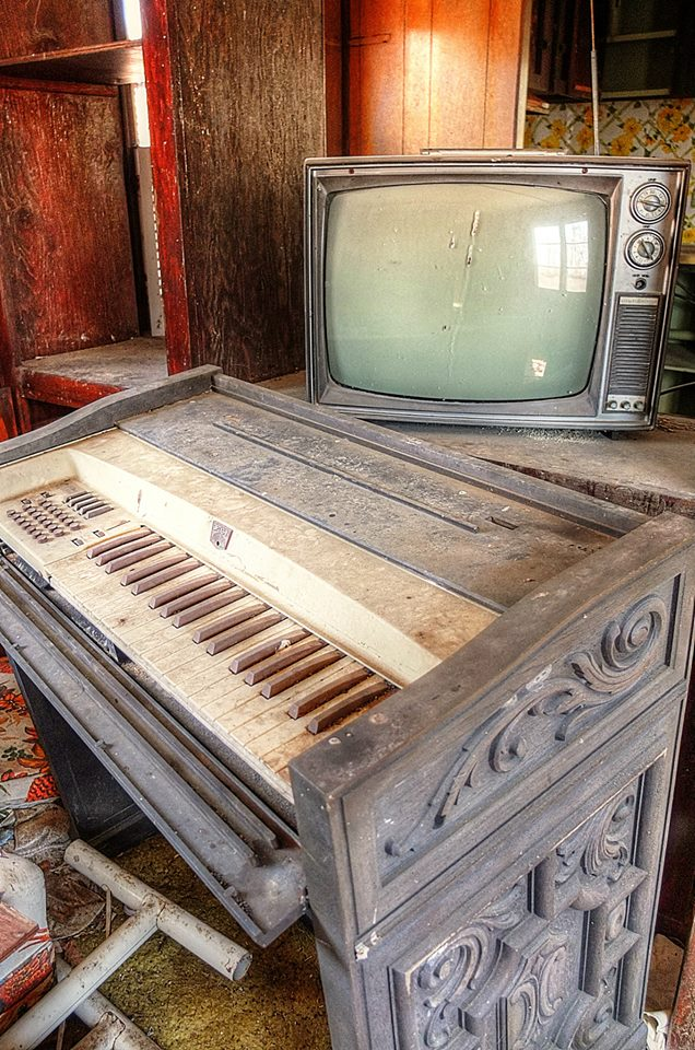 Home entertainment, seen in an abandoned mobile home, near New Paltz NY Photo by Liz Cooke