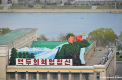 Huge Sign At A Rooftop At Kim Il-sung Square