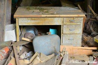 Abandoned Desk In A Japanese Barn