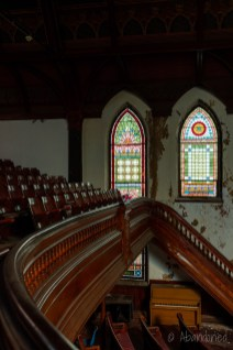 Sanctuary Stairwell with Stained Glass