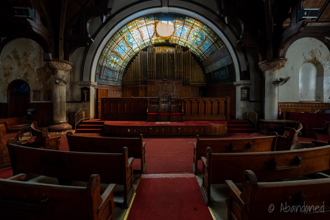 Tiffany Stained Glass Windows Over Pulpit Dai in Abandoned Philadelphia Church
