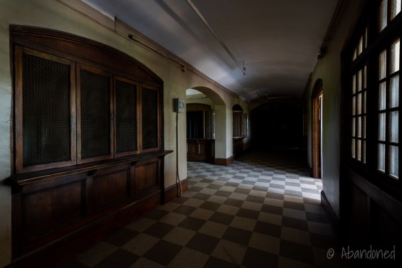 Medfield State Hospital Male Employees' Home Hallway with Bookcases