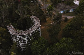 A view of The Cyclone at the abandoned Williams Grove Amusement Park.