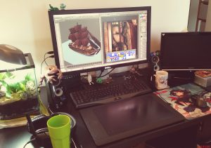 My workstation, feat. the Mourning Geckos.