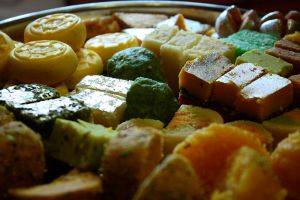 Author: robertsharp via Wikipedia Commons Diwali sweets (mithai)