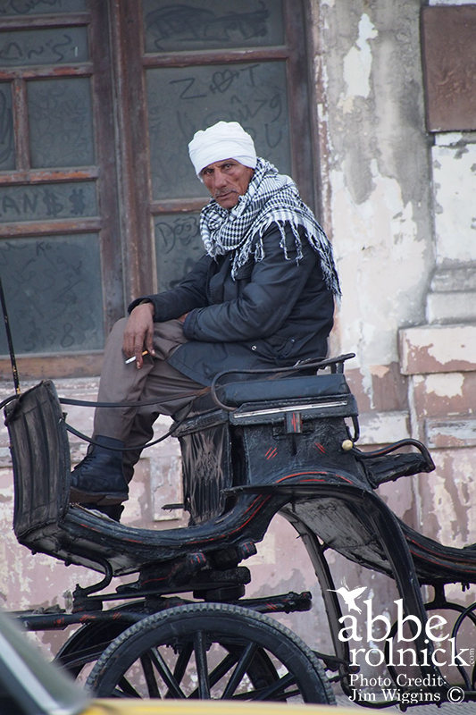 Man sitting on horse carriage