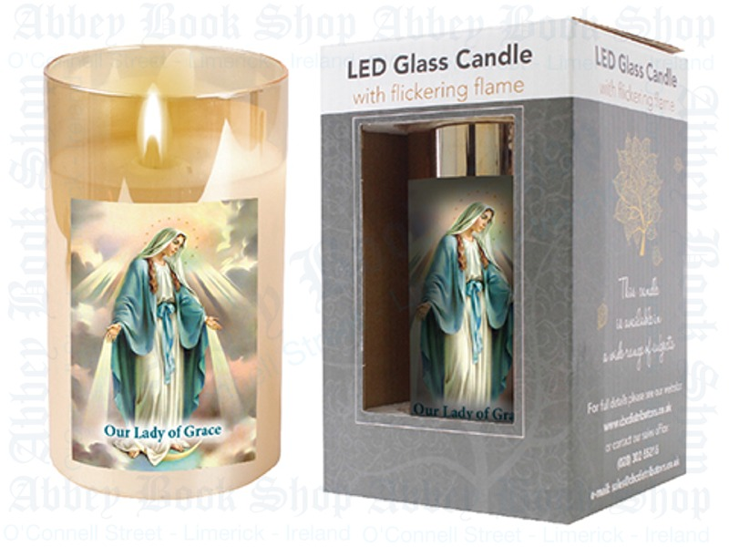 LED Glass Candle – Our Lady of Grace