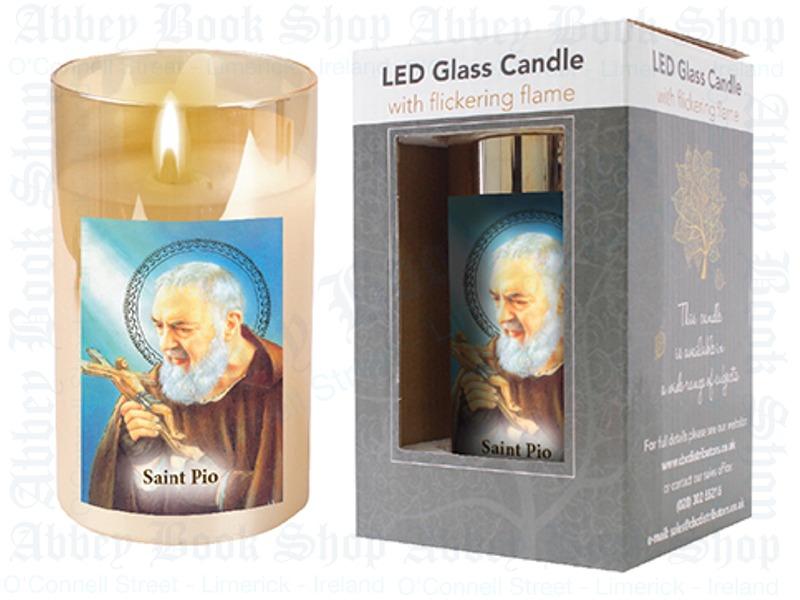 LED Glass Candle – Saint Pio