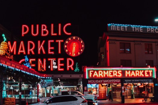 Pike Place Public Market in Seattle with Christmas Lights