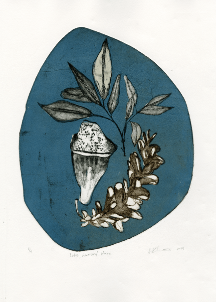 Lakes, here and there, Etching and Chine Colle, 2015