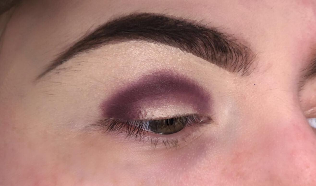 Sparkly Cut Crease Makeup Tutorial - Step 2 - Pack a Dark Shade of Purple on the Eye