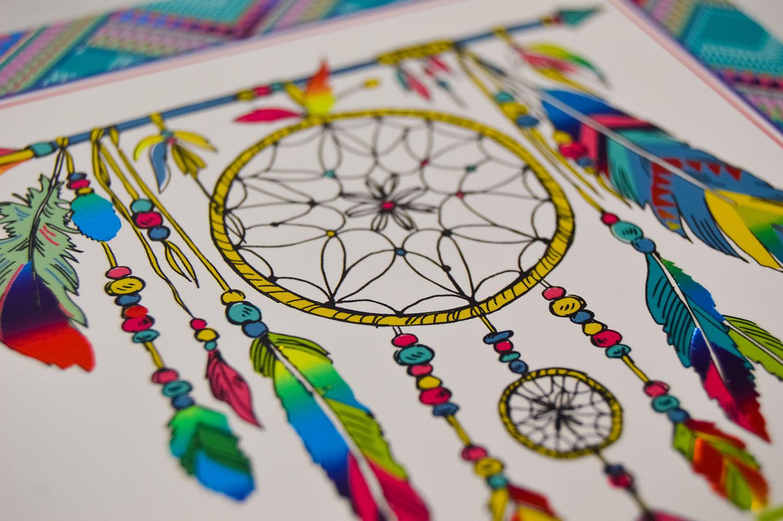 foil dreamcatcher greetings card