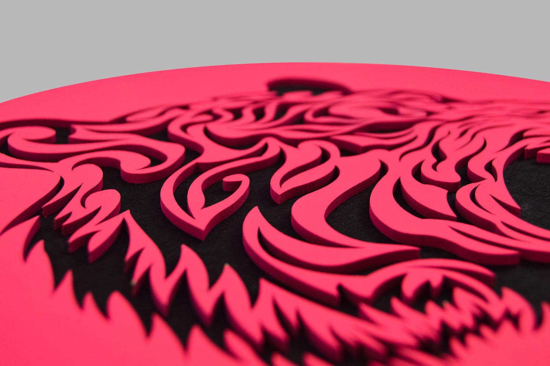 Laser Cut Pink Black Tiger Face