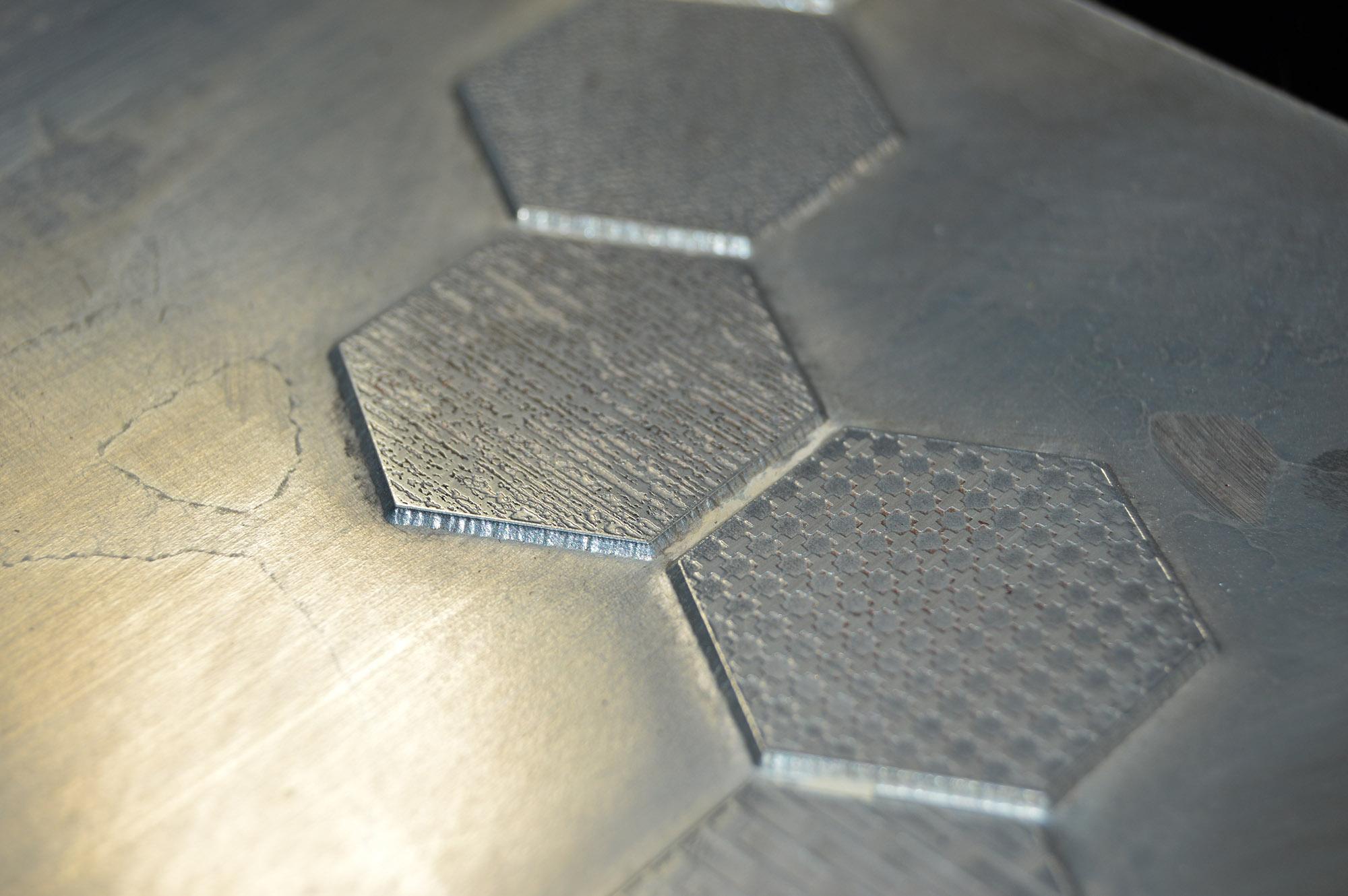 textured foil die close up