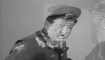 Lou Costello pasted in The Paperhangers