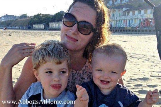 Stephanie, the DIY diva, with her boys at the beach