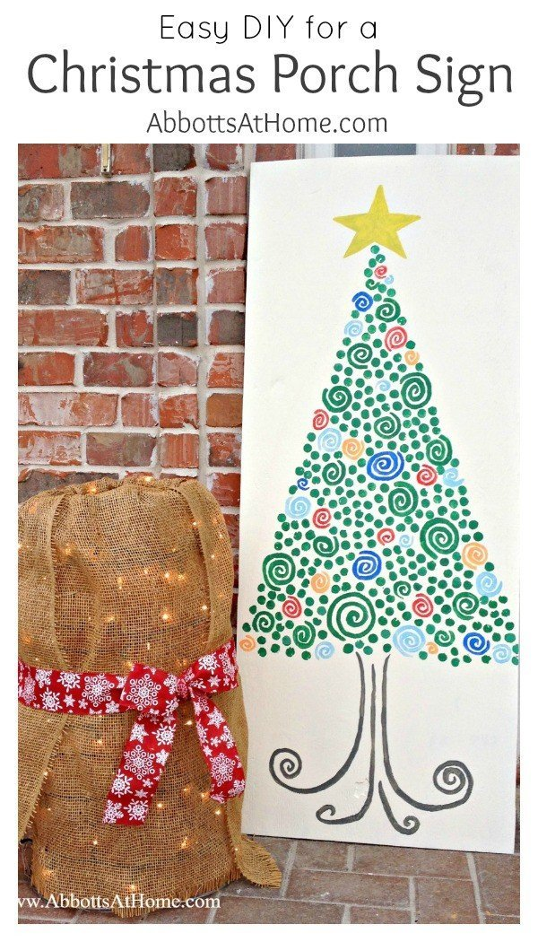 Easy DIY for a big Christmas Porch Sign.This Christmas Tree is easy enough for anyone to make. #christmas #christmassign #christmastree