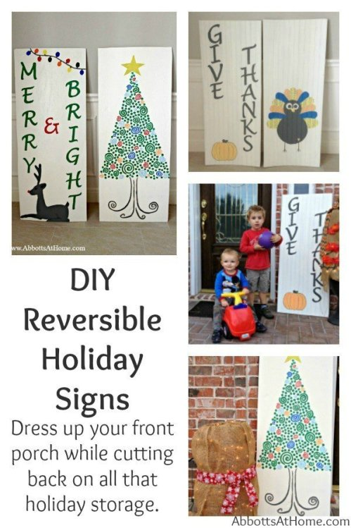 These DIY Reversible Holiday Signs dress up your front porch and make storage easy