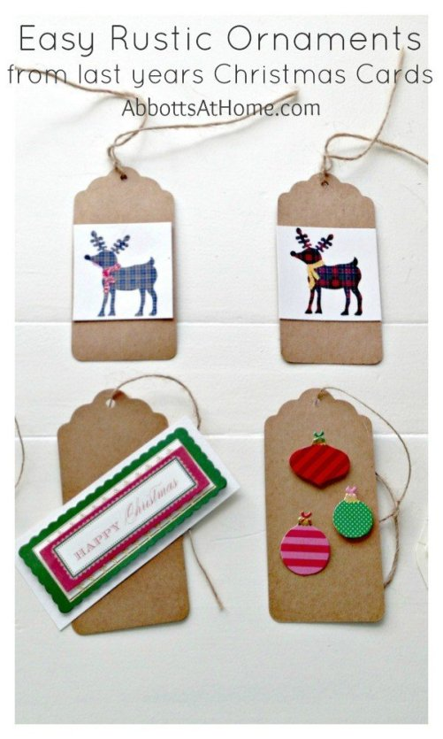 Easy Christmas Ornament Craft from Old Cards. Rustic and Classic look. Easy for kids or grown ups. #ornaments #crafts #rustic
